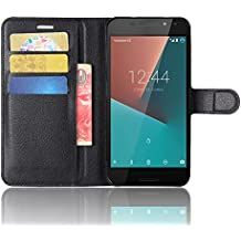 Vodafone Smart N8 Custodia, SMTR Vodafone Smart N8 Wallet Case Cover Leather Flip Cover Magnetic closing Anti-Shock Function with Stand - Nero