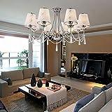 Lámpara cristal lujosa y elegante de estilo europeo moderado Lámpara de techo cristal de 8 piezas para sala de estar Lámpara de techo cristal moderna para dormitorio