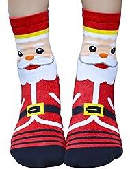 Tongshi 3D Calcetines Navidad de la historieta de las mujeres del algodón calcetines del piso