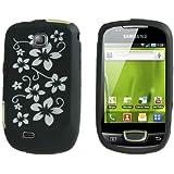 Neues Qualität Schwarz Blumen Muster Silikon Schutzhülle Für Samsung Galaxy Mini S5570