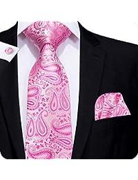 5e47fa4031ba Hi-Tie Mens Tie Paiely Plaid Solid Silk Tie For Men Necktie and Pocket  Square