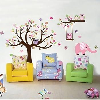Babyzimmer gestalten wandgestaltung eule  1 X Dschungel-Zoo: Eulen auf Baum mit Giraffe und Löwe unter für ...