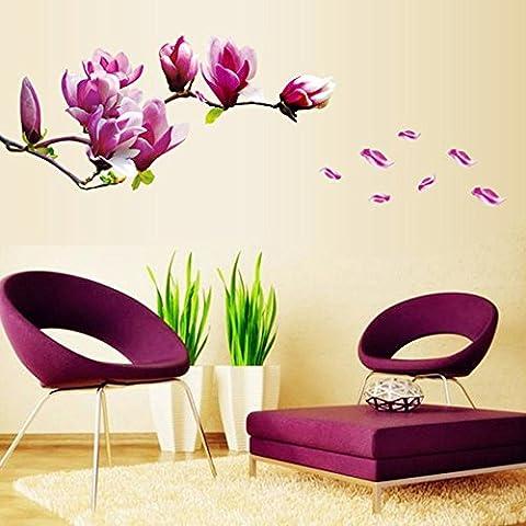 quickcor (TM) DIY adesivo de parede decoración del hogar Hermosa Mangnolia Flores extraíble Arte de la pared vinilo adhesivo adhesivos Papel