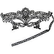 PRESKIN - Spitzenmaske für Karneval, venizianische Verführung für Fasching, schwarze sexy Maske für Verkleidung und Party, Shades of Grey