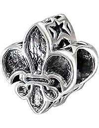 So Chic Joyas - Abalorio Charm flor de lis Herradura de monarquía - Compatible con Pandora, Trollbeads, Chamilia, Biagi - Plata 925