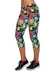 Sannysis - Cintura alta Sport yoga Pantalones pirata para mujer deporte (B, M)