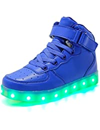 Licy Life-UK Unisex Bambino LED Scarpe High-Top Nuovo Stile USB Carica  Lampeggiante 6dcbeb697a2