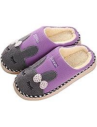 SAGUARO Automne Hiver Pantoufles Coton Peluche Chaussons Doublure  Intérieure Douce Mules Femme Homme Accueil Slippers Chaussures 444c9fe887f0
