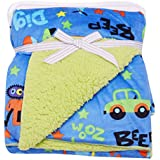 GURU KRIPA BABY PRODUCTS ® Presents Double Layer Velvet Fleece Printed Baby AC Blanket Cum Warm Up Fleece Blanket Cum Sleeping Bag Double Layered 100% Soft Stroller Flalane Receiving Sleeping Bag Size 102cm X 76cm (Nevy Blue)