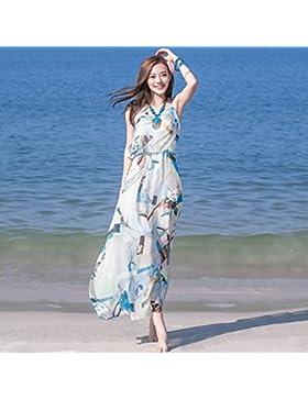 Meng Wei Shop Vestido de gasa de la correa Vestido bohemio Vestido de playa de la playa Vestido de playa de verano...