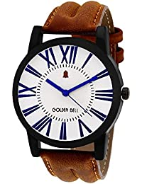 Golden Bell Original White Dial Brown Strap Analog Wrist Watch For Men - GB-842