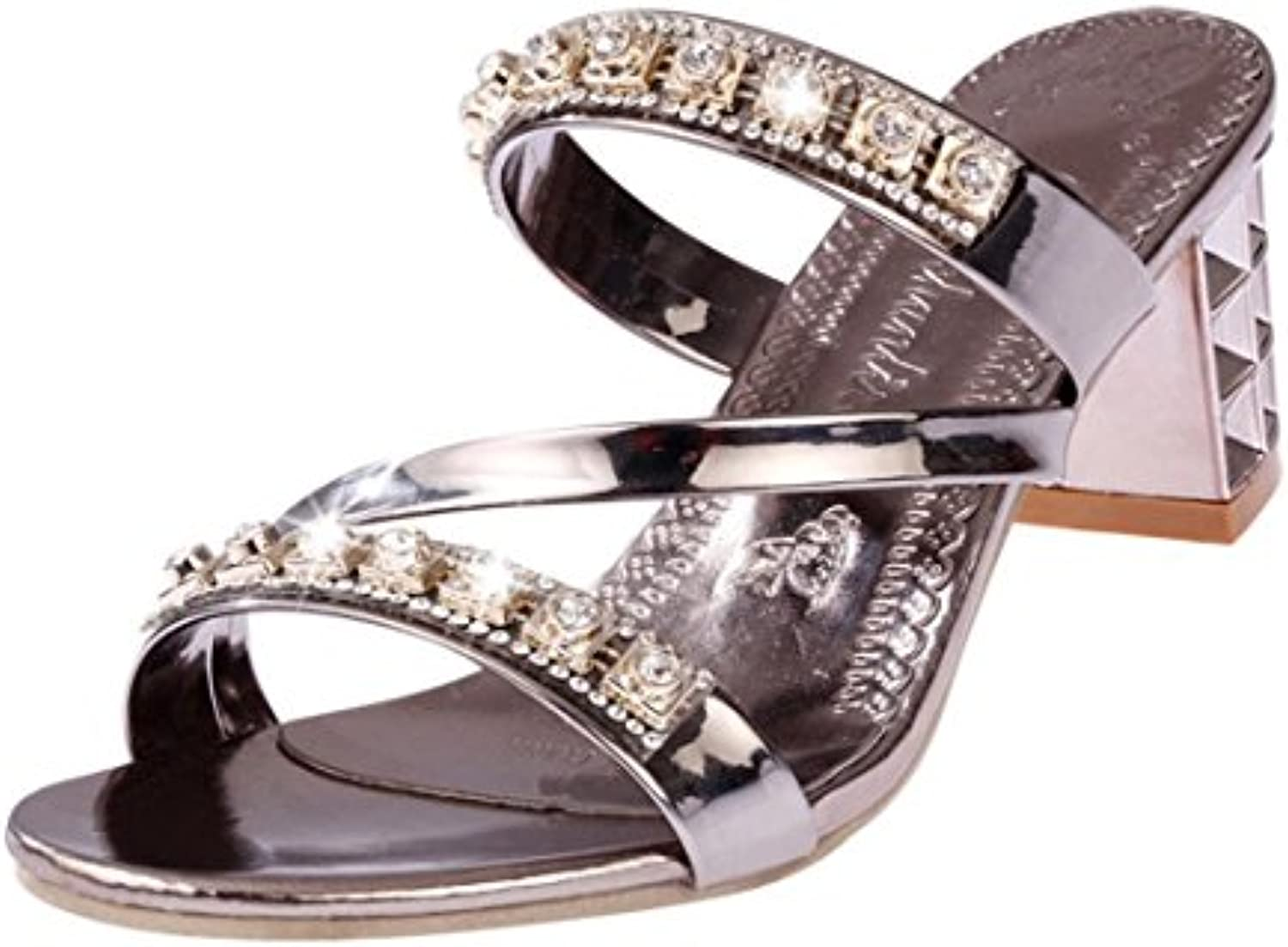 2bbd173a1b185 WSK B07C9RCXZN High-heeled shoes Parent Flip-flops with rhinestone women s  sandals with... and slippers Large size ladies  sandals with.
