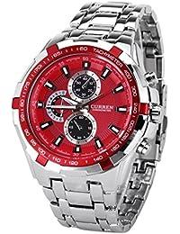 –Reloj de Muñeca para Hombre Curren elegante cuarzo reloj de pulsera para hombres, Amazing Buscando Reloj para relojes moda impermeable Curren cronómetro reloj con tira Hour marcas (Plata + Rojo)