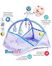 DearJoy Baby Kick and Play Gym with Mosquito Net and Baby Bedding Set (Blue Bunny Print)