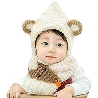 Malloom Bebé de peluche Zorro de felpa Sombrero de bebé Bufanda Bebé Niño pequeño Niño niña Punto suave encantador para niños + bufanda Conjunto de dos piezas