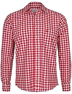 Herren Almsach Trachtenhemd Slim fit rot-weiss kariert langarm - Der Klassiker für alle Oktoberfeste und Volksfeste...