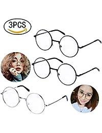 3 pares de gafas retro unisex redondo de metal marco negro, plata metal Color Transparente vidrios de la lente Damen Herren vidrio de ventana del marco