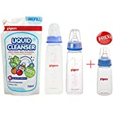 Pigeon Baby Liquid Cleanser,Multipurpose Cleanser 700ml With Pigeon Feeding Bottle 240ml & 200ml WITH Pigeon 120ml Feeding Bottle....FREE (Blue)