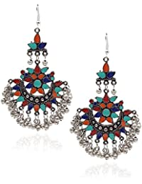 YouBella Oxidised Afghani Tribal Blue Gold Plated Earrings for Women