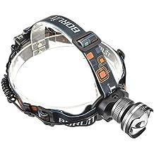 Boruit Linterna Frontal 3000 Lúmenes CREE XM-L T6 LED Impermeable y Adjustable 3 Modos Super Brillante Lámpara de Cabeza Bastante Ligero para Pescar Montar en Bici etc Color Gris