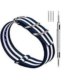 10 Colors for NATO Watch Strap 22mm 18mm 20mm 24mm, Fullmosa Nylon Watch Bands for Men Women, 22mm Blue+Ivory White