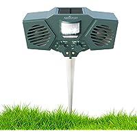 Ultraschall Solar Animal & Schädlingsvertreiber–mit 30'Motion Sensor, blinkende LED-Licht–Pest Control für Waschbär, Katzen, Hunde, Rehe, Vögel–Wetter Proof Design–inkl. 3Batterien & USB-Kabel