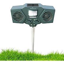 Ultrasonidos Ahuyentador de animales Solar y de plagas–con 30de sensor de movimiento, parpadeo de la luz LED–control de plagas para mapache, gatos, perros, ciervos, diseño de pájaros–impermeable–incluye 3pilas y USB Cable