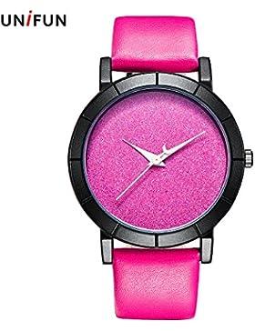 unifun Creative Design Sternenhimmel einfach Leder Quarz Star Moon Fashion Casual Frauen Damen Mädchen Rosa Pink...