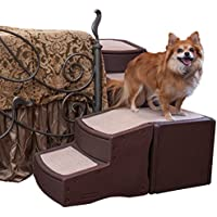Pet Gear fácil paso envuelve 4pasos escalera para mascotas cama hasta 75-pound, Chocolate
