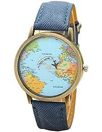 Toamen Nuevo Recorrido Global Por El Mapa Del Plano Mujeres Visten El Reloj  Banda De Tela 6a2a883beea5