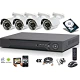 Kit vidéo surveillance AHD 4 caméras 1080P, 2 Megapixels+ enregistreur IP 1To