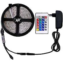 WENTOP RGB LED tira de luces Kit, no impermeable 5m LED cinta, SMD 5050 150LEDs DC 12V RGB LED tira con fuente de alimentación y 24key remoto, multicolor LED cinta para el gabinete de cocina y la decoración de retroiluminación de TV