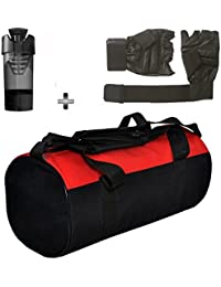 Gym Bag , Gloves And Black Cyclone Shaker Bottle Combo Pack For Men|Women A Must Have Gym Bag Combo Kit For Boy's...