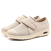 Orthoshoes Womens Edema Shoes Mesh Breathable Lightweight Walking Sneakers Air Cushion for Diabetic, Elderly, Swollen Feet, Plantar Fasciitis, Breathable - Beige, 7