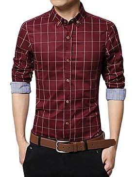 Zicac, camicia da uomo, in puro cotone mercerizzato, stile inglese, elegante, aderente, a maniche lunghe, fantasia...