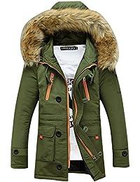 SaiDeng Hombres Jacket Invierno Chaqueta Con Capucha El Color Uni Prácticos Bolsillos Verde 2XL
