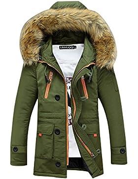 SaiDeng Hombres Jacket Invierno Chaqueta Con Capucha El Color Uni Prácticos Bolsillos Verde XL