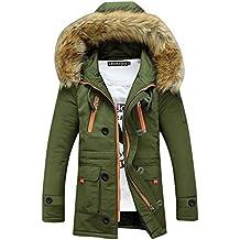 SaiDeng Hombres Jacket Invierno Chaqueta Con Capucha El Color Uni Prácticos Bolsillos Verde L