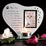 Dog, Cat Glass Grave Memorial Ornament for Remembrance poem candle photo holder (MY CAT)