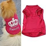 Saingace Fashion Pet Puppy Dog Princess Crown Shirt Small Dog Cat Pet Clothes Stripe Vest T Shirt Costumes (M,...