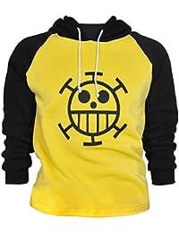 CoolChange Camiseta de Trafalgar Law con símbolo de Jolly Rogers del equipaje de piratas Sombrero de Paja de la serie One Piece. Talla: L