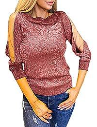07586ec6d469 Longra Damen Langarm Party Oberteile Schulterfreie Pailletten Oberteil  Transparent Mesh Ärmel Bluse Elegante Blusen Shirt Rundhals