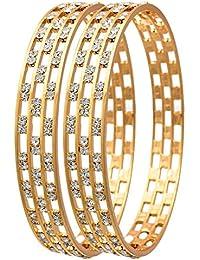 Jewels Galaxy Elegant Precious AAA American Diamond Bangles - Pack Of 2