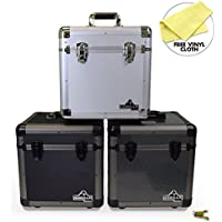 "Gorilla LP80 12"" LP Vinyl Record Storage Carry Case - Holds 80 - 3 Colours Available (Carbon)"