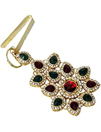 Shree Mauli Creation Maroon Green Alloy Maroon Green Stone Flower Waist Key Jhumber For Women SMCW17