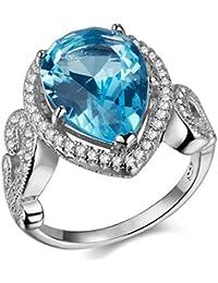 newshe Aniversario Pear Creado Blanco Color Azul Zafiro CZ Anillo de compromiso de bodas de plata de ley 925tamaño J 1/2A T 1/2