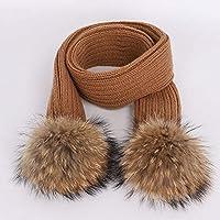 HAOLIEQUAN Nette Kinder Pompon Strickmützen Hut Schal Sets Winter Junge Mädchen Weiche Mütze Schals Baby Warme Kinder