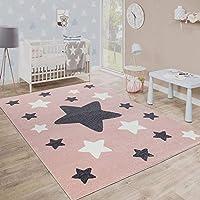 Paco Home Alfombra Habitación Infantil Estrellas Grandes Y Pequeñas En Rosa Y Gris, tamaño:120x170 cm