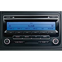 Original VW Radio RCD 310 - CD y MP3, VW 1K0 035 186 AA, Azul oprimido