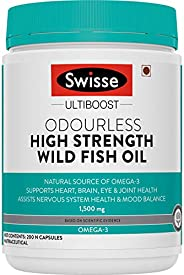 Swisse Ultiboost Odourless High Strength Wild Fish Oil with (1500 mg) Omega 3 for Immunity, Heart, Brain, Join